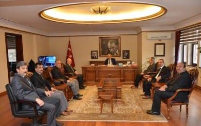 İl Milli Eğitim Müdürü ve Okul Müdürleri Vali Orhan Alimoğlu'nu Ziyaret Etti