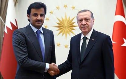 Katar Emiri Şeyh Temim Cumhurbaşkanlığı Sarayı'nda