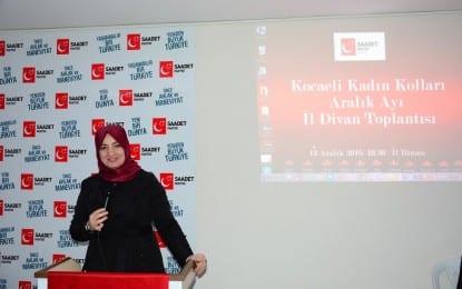 Saadet Partisi İl Kadın Kolları Başkanı Reyhan Şengün; Orta Doğu üzerinde emeli olanlar bilsin ki, ne yaparlarsa yapsınlar bu topraklarda onların oyununu bozacak bu topluluk her zaman var olacaktır