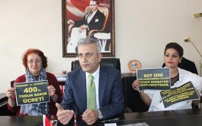 Türk Sağlık Sen Kocaeli Şube;  Torun bakan büyükannelere 400 TL.  ücret ödemek için hazırlık yaparken, Anneden kesinti olmaz