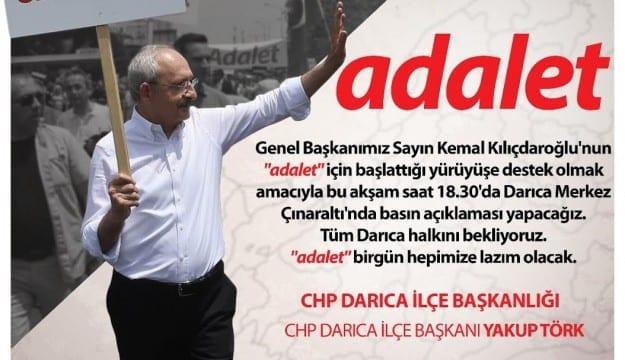 """CHP Darıca """"adalet"""" yürüyüşü için basın açıklaması yapacak"""