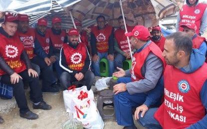 Direnişteki işçilere Nakliyat-İş'ten dayanışma ziyareti