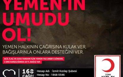 Türk Kızılayı Kocaeli Şube Başkanı Cengiz İpek, Yemen'dekiinsanikriz nedeniyle yazılı bir açıklama yaptı