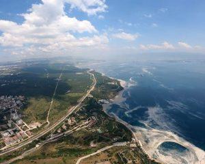 Marmara'yı saran müsilaj havadan görüntülendi! Deniz salyası her yerde